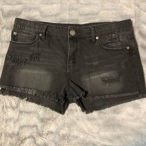 Sts blue faded black distressed ripped shorts